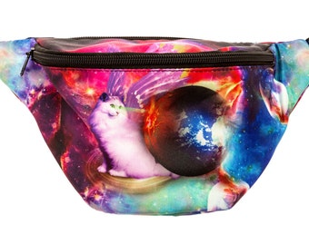 Galaxy Laser Cat Fanny Pack - Cute cool rave festival waist bag with Hidden Pocket