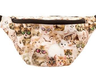 Kittens Fanny Pack - Cute cool rave festival waist bag with Hidden Pocket