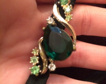 Vintage green bling head band
