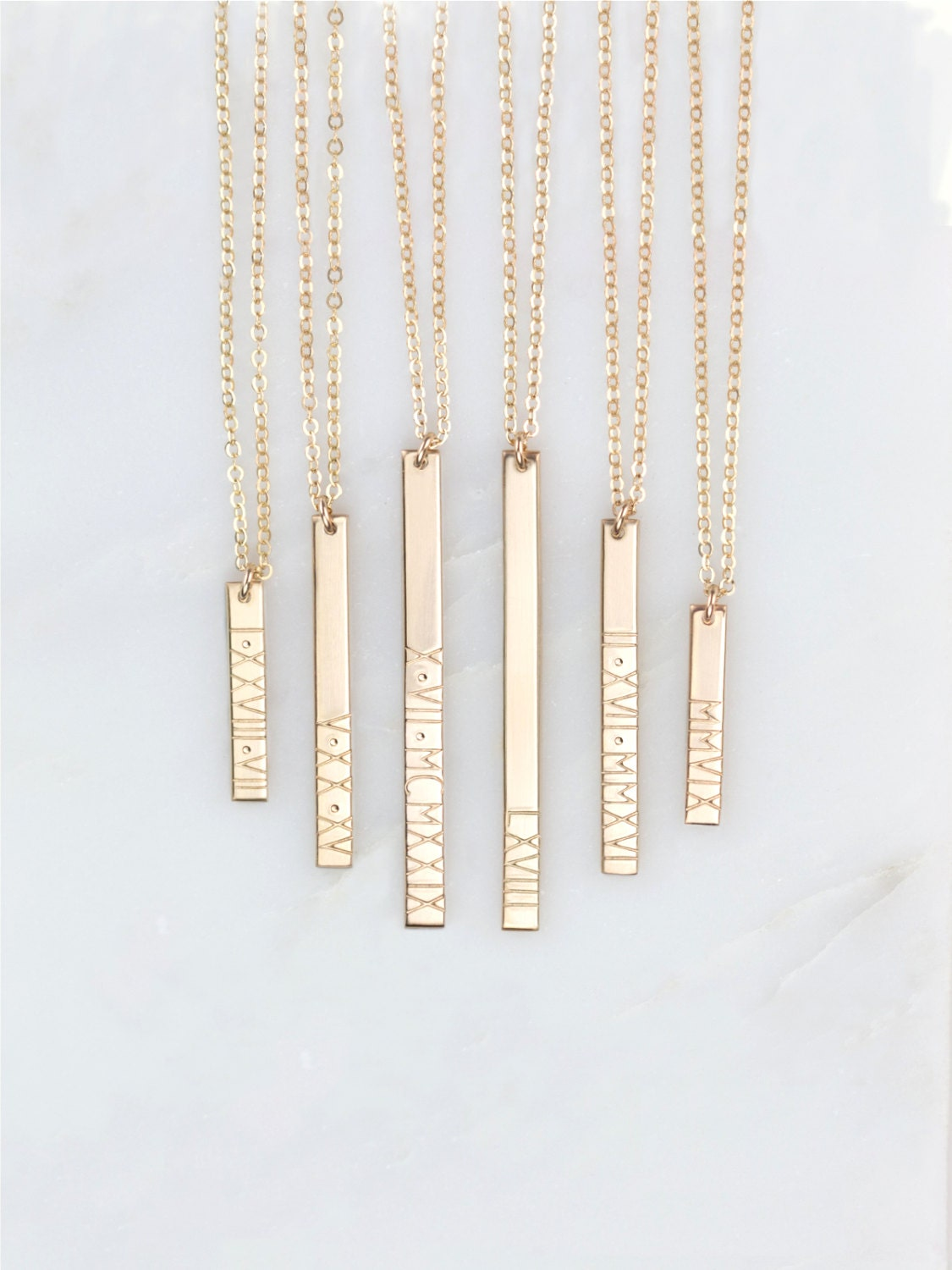 Personalized Roman Numeral Vertical Bar Necklace Customized