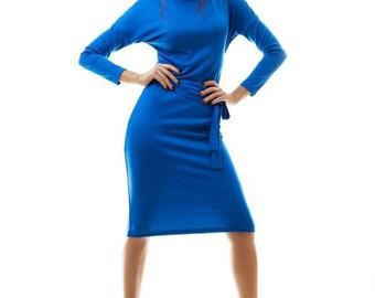 Blue midi dress / Jersey dress / Autumn dress / Classic woman dress / Elegant woman dress