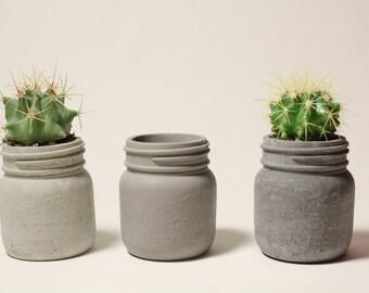 Concrete Mason Jar Planter