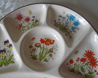 garden flowers  party plate with 6 sections.