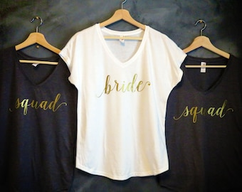 Bride Shirt, Bridesmaid Shirts, Wifey Shirt, Gold Vneck Shirt, Bachelorette Party Shirts, Bride Gift, Bridesmaid Gift, Silver, Bridal Party