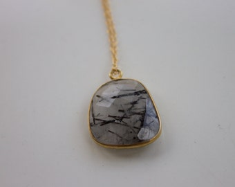 Tourmalinated Quartz Natural Gemstone on 14k Gold Filled Chain