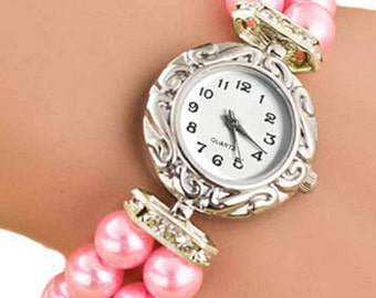 Crystal and pearl band watch