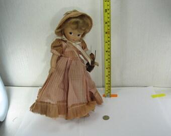 Vintage La Madelon Doll Girl in Bonnet with Picnic Basket
