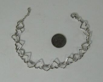 """Vintage Sterling Silver Interlocking Hearts Link Bracelet 8"""""""