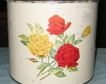 Vintage Red/Yellow Rose Tin Canister Set