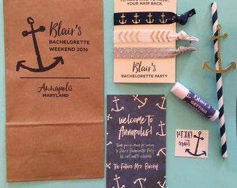 bachelorette party favor packs // nautical // custom