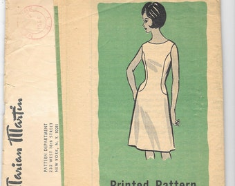 """Vintage 1960s Marian Martin Dress Sewing Pattern 9332 Size 12 Bust 32"""" Sleeve Variations"""
