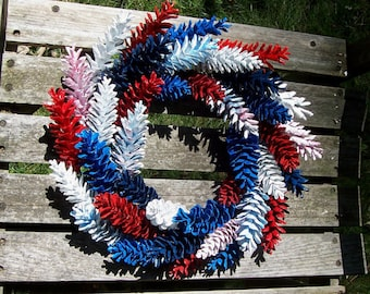 Pine Cone Wreath.  Patriotic Red, White, and Blue (White Pine.)  Fourth of July, Door Wreath, Pinecone Wreath, Wall Decor.