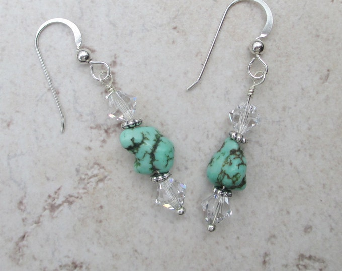 handmade turquoise earrings with clear Swarovski crystals on a sterling silver ear wire