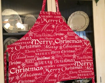 Christmas apron, Woman's Apron, Pocket Apron, Holiday Apron, cooking attire