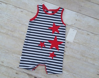 Stars and Stripes Romper - 4th of July Tank Top Romper - Summer Romper - Boy Romper - Baby Romper - Short Romper - Applique Baby Romper