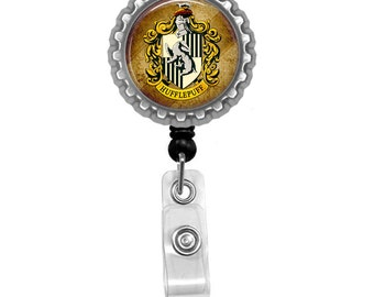 Harry Potter House Of Hufflepuff Photo Glass / Bottle Cap Retractable ID Badge Reel