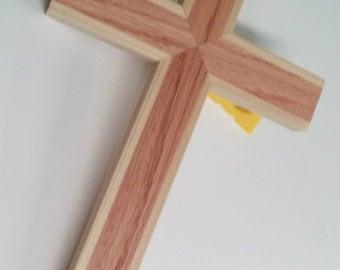 Wood wall cross made of red oak and poplar. handmade wooden cross