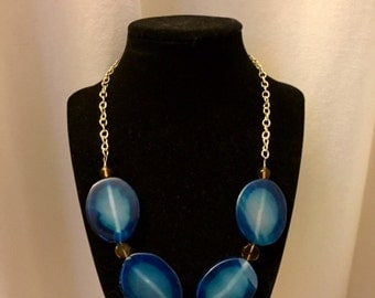 Blue stone beaded necklace