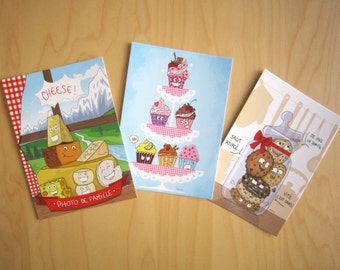 Lot of 3 postcards, Pack 3 Foods : Cookies, Cheeses, Cupcakes
