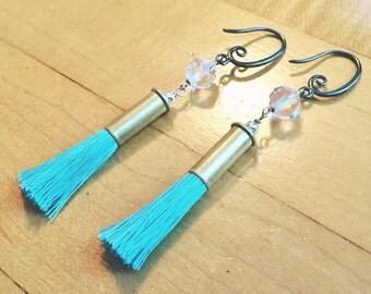 Beachy .22 Tassel Earrings-Light Turquoise Colored Tassel