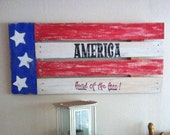 Americana Sign - America Land of the Free Sign - American Flag - Patriotic Sign - Hand Painted - Pallet Wood Sign - 4th of July Decor