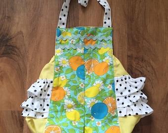 Toddler Girls Citrus and Polka Dot Halter Romper // 2T // Ready to Ship