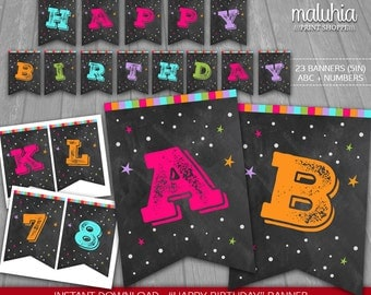 Chalkboard Birthday Banner - INSTANT DOWNLOAD - Chalkboard Digital Printable - Chalkboard Happy Birthday Girl Pennant