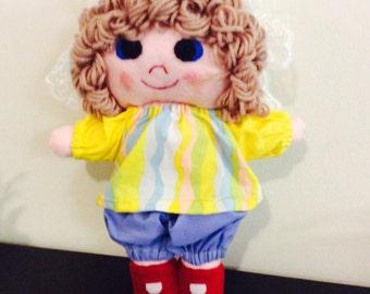Rag doll, Handmade cloth doll, Pink lemonade doll, Brown hair doll