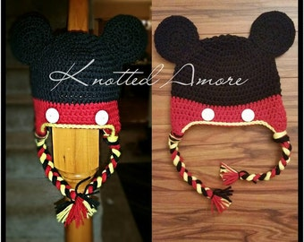 Crochet mickey mouse hat, baby boy character hat, mickey mouse, baby boy gift, mouse ear baby hat, photo prop, mouse hat, baby boy gift