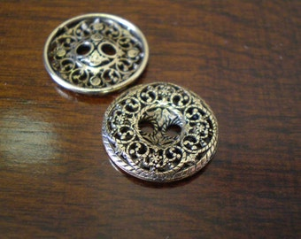 """3 - Angelica Metal Buttons with Two Holes 3/4"""" (19mm) Antique Gold Color"""