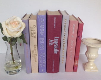 Vintage Book Stack, Vintage Books, Shades of Purple & Lavender, Set of 7, 1972 to 2012, Home Decor, Wedding Decor, Instant Library, Books