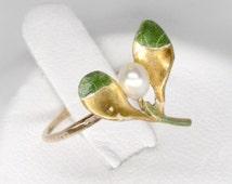 enamel art nouveau ring, vintage 14k gold mistletoe green enamel pearl ring, size 4.5 stacking ring, vintage midi ring, 14k gold flower ring