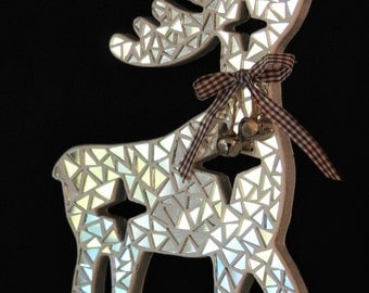 Wooden figures representing a reindeer mosaic