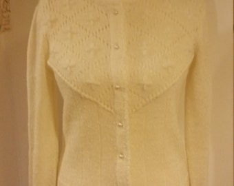 Cream Cardigan with Pearl Details and Buttons 10-12