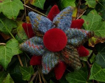 40% DISCOUNT - Macleod HARRIS TWEED Flower Corsage Brooch Handmade in the Outer Hebrides
