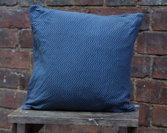 Handmade Blue Zig Zag Cushion