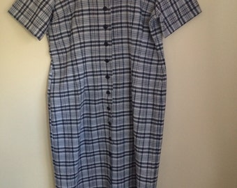 90s Black and White Short Sleeve Dress 16/18/XL