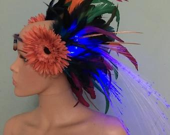 Light up feather headpiece