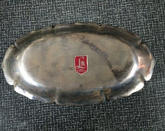 Vintage Lunt Silverplate Dish With Classic Scalloped Edge Pattern, Engraved with Initials XZI or IZX