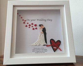 """Wedding Gift Frame in white, 8"""" X 8"""" box frame"""