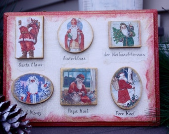 Santa Around the World, Vintage Inspired Santa Sign, Christmas Decor, Wall Decor