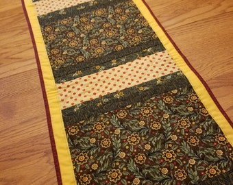 Fall or autumn gold, brown, maroon, green and rust table runner