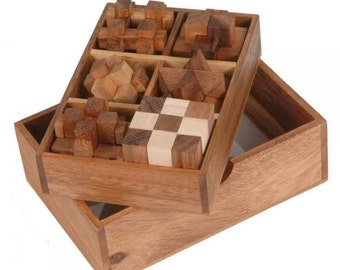 Wooden Toy : 6 Wooden Puzzle Gift Set - The Organic Natural Puzzle Game Play for Baby and Kids