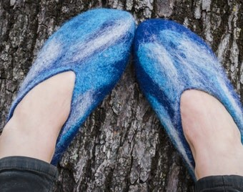 Hot pure wool felt slippers/slippers/Blue warm slippers/Eco friendly gift