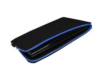 FELT LAPTOP SLEEVE 06 macbook cover blue zipper black felt and leather 15 inch laptop case all sizes avaliable