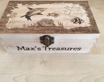Shark Treasure Box Personalised and Customised Pyrography Commissioned Box