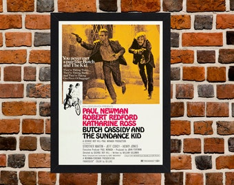 Framed Butch Cassidy And The Sundance Kid Paul Newman & Robert Redford Movie / Film Poster A3 Size Mounted In Black Or White Frame