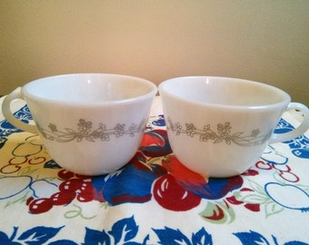 Vintage Pyrex Ribbon Bouquet Mugs, Corning Ribbon Bouquet,  Two White Milk Glass Pyrex Mugs, Vintage Milk Glass, Corning Sunrise Collection