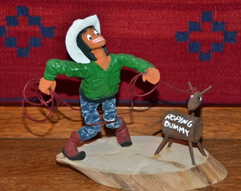 Folk Art Hand Carved Rodeo Cowboy