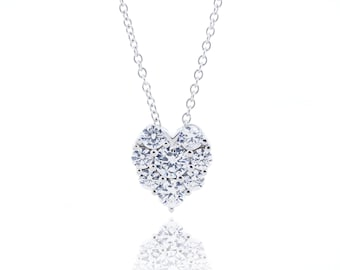 925 Sterling Silver Sparkle Heart Necklace 0.56 CT.TW (S220)